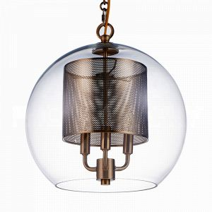 front view of the Aidan Gray Luca Antique Brass Pendant with a punched metal canister that covers the light source