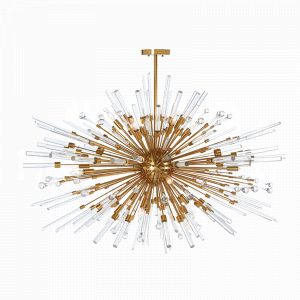 Aidan Gray Antique Brass Goliath Star Chandelier with Icy spikes of glass exploding from the central globe