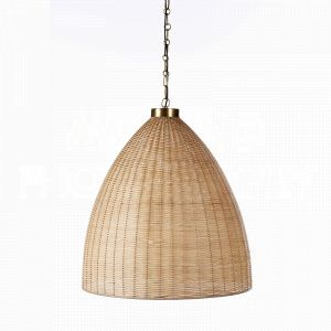 Natural St. Augustine Chandelier by Aidan Gray is made of a textural shade of natural rattan that emits a golden glow