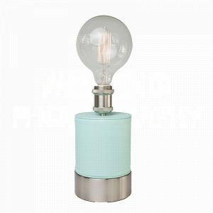 Cubist Robins Egg table lamp by Aidan Gray wrapped in soft blue faux leather and a perfect fit for an Edison bulb