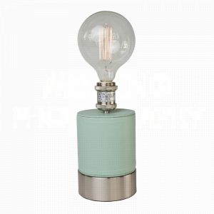 Cubist Seafoam table lamp by Aidan Gray wrapped in ethereal seafoam green faux leather and a perfect fit for an Edison bulb