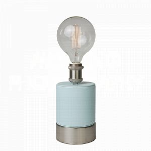 Cubist Sky table lamp by Aidan Gray wrapped in dreamy sky blue faux leather and a perfect fit for an Edison bulb