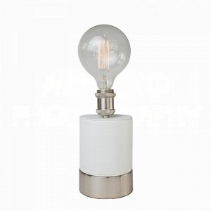 Cubist White table lamp by Aidan Gray wrapped in crisp white faux leather and a perfect fit for an Edison bulb
