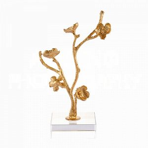 Fragment No. 20 On Stand by Aidan Gray is a decorative sculpture of lively blossoms on an undulant stem that rise from an acrylic base