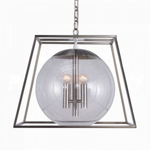 front view Aidan Gray Lincoln Nickel Chandelier with clean metal lines in a nickel finish