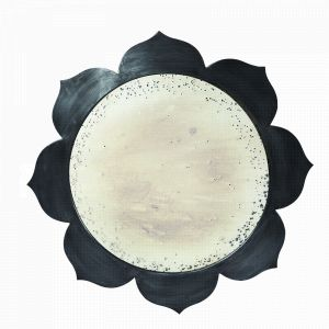 the Blossom Mirror by Aidan Gray has a floral-inspired frame in a rustic iron finish and antiqued mirror