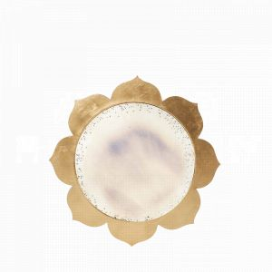 The Gold Blossom Mirror by Aidan Gray with a floral frame in a gleaming gold finish and antiqued mirror