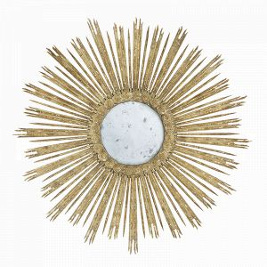 Aidan Gray Large Gold Skovde Mirror with aged gray and gold leaf finishes and antiqued mirror
