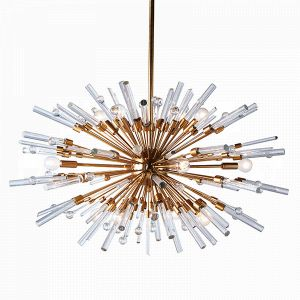 Aidan Gray Antique Brass Goliath Star Small Chandelier with Icy spikes of glass exploding from the central globe
