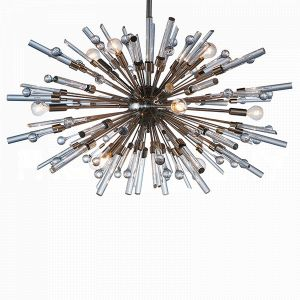 Aidan Gray Nickel Goliath Star Small Chandelier with Icy spikes of glass exploding from the central globe