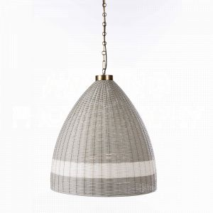 Gray St. Augustine Chandelier by Aidan Gray with a textural rattan shade that has a bit of vintage flair with the white stripe