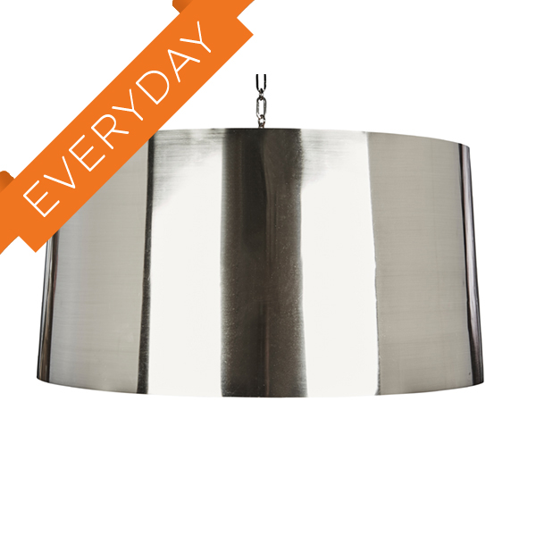 Large Mirrored Nickel Fanning Drum Pendant
